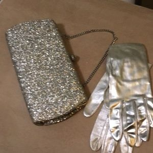 Handbags - Silver clutch and gloves